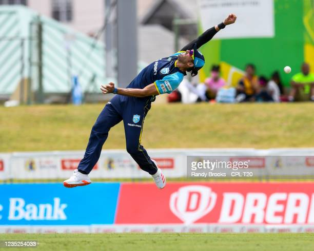 David Wiese of Saint Lucia Kings attempts to catch Sunil Narine of Trinbago Knight Riders during the 2021 Hero Caribbean Premier League Play-Off...