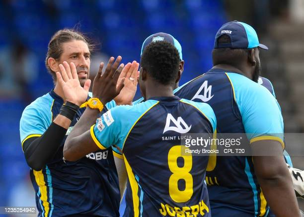 David Wiese of Saint Lucia Kings celebrates the dismissal of Kieron Pollard of Trinbago Knight Riders during the 2021 Hero Caribbean Premier League...