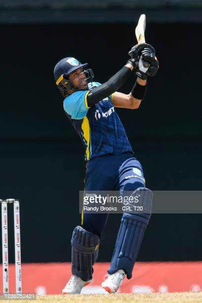 David Wiese of Saint Lucia Kings hits 6 during the 2021 Hero Caribbean Premier League Play-Off match 31 between Saint Lucia Kings and Trinbago Knight...