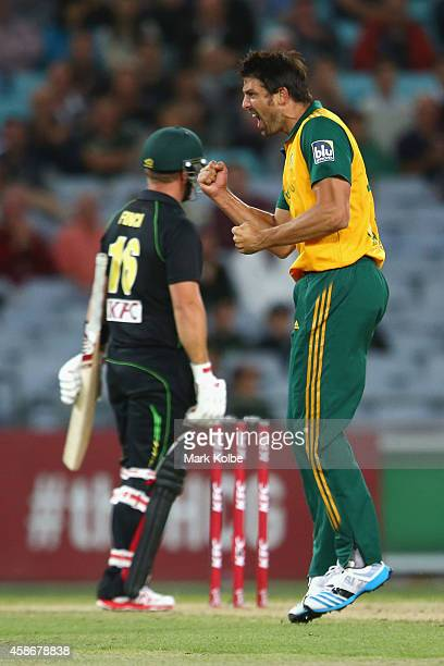 David Wiese of South Africa celebrates taking the wicket of Aaron Finch of Australia during game three of the Men's International Twenty20 series...