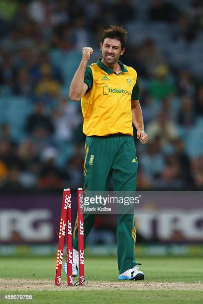 David Wiese of South Africa celebrates taking the wicket of Nic Maddinson of Australia during game three of the Men's International Twenty20 series...