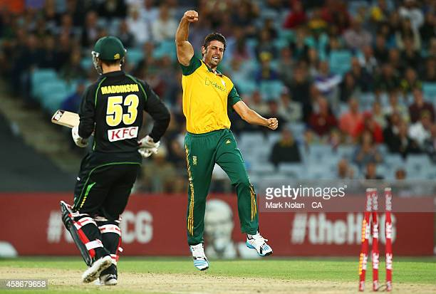 David Wiese of South Africa celebrates the wicket of Nic Maddinson during game three of the Men's International Twenty20 series between Australia and...