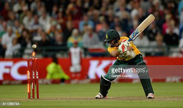 David Wiese of South Africa is bowled by Chris Jordan of England during the 1st KFC T20 International match between South Africa and England at...