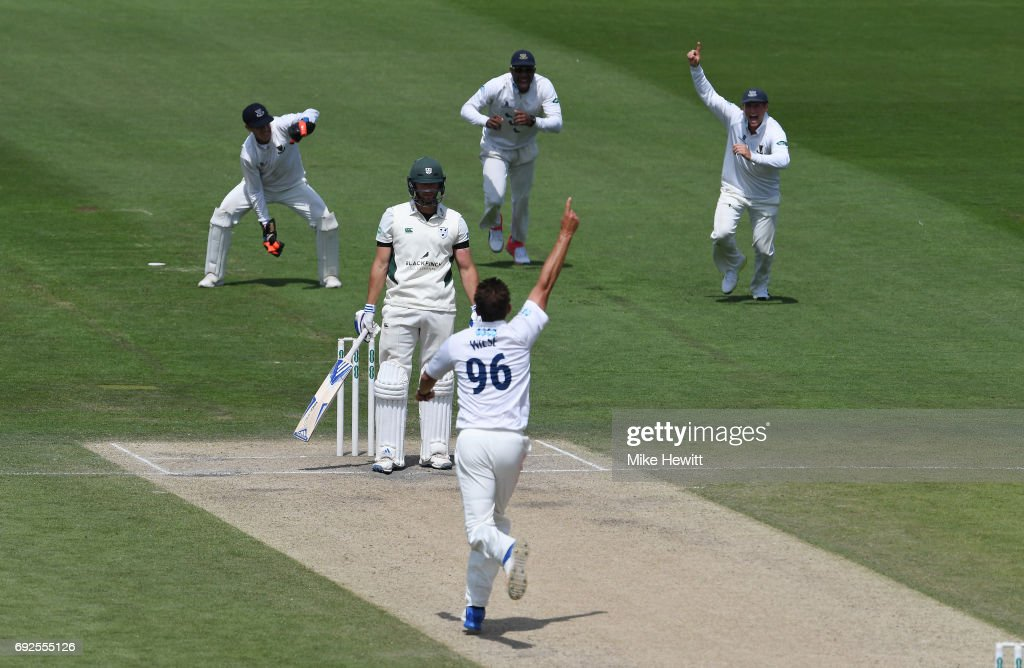 David Wiese of Sussex celebrates after dismissing Ross Whiteley, caught behind by Michael Burgess, during the fourth day of the Specsavers County Championship Division Two match between Sussex and Worcestershire at The 1st Central County Ground on June 5, 2017 in Hove, England.