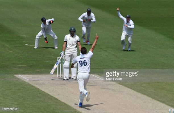David Wiese of Sussex celebrates after dismissing Ross Whiteley caught behind by Michael Burgess during the fourth day of the Specsavers County...