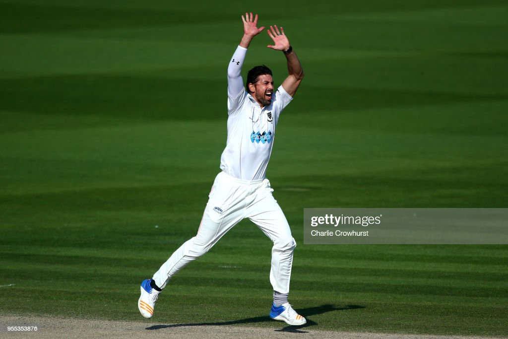 David Wiese of Sussex celebrates after taking the wicket of James Harris of Middlesex during day three of the Specsavers County Championship: Division Two match between Sussex and Middlesex at The 1st Central County Ground on May 6, 2018 in Hove, England.
