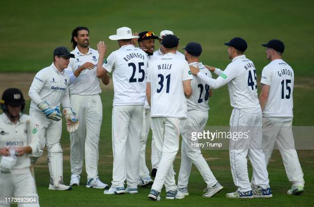David Wiese of Sussex celebrates after taking the wicket of Ryan Higgins of Gloucestershire during Day One of the Specsavers County Championship...