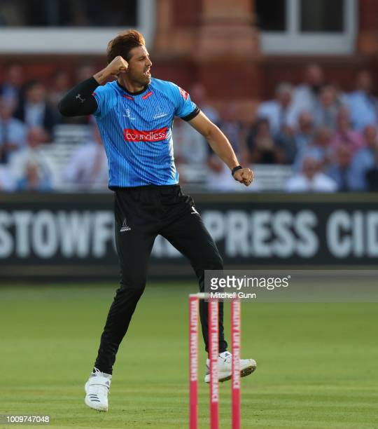 David Wiese of Sussex celebrates taking the wicket of Paul Stirling of Middlesex during the Vitality Blast T20 match between Middlesex and Sussex...