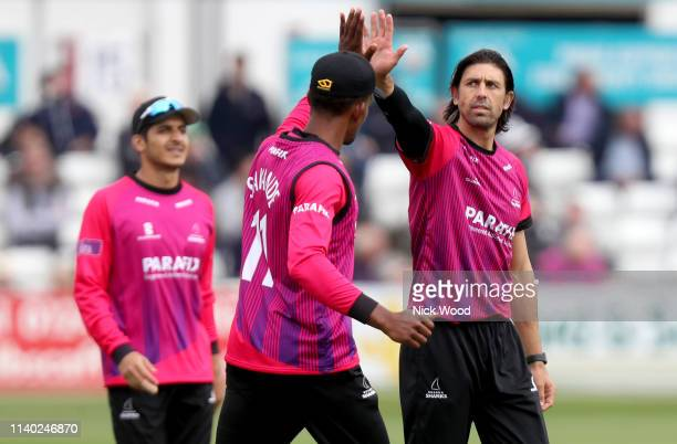 David Wiese of Sussex celebrates taking the wicket of Tom Westley during the Royal London One Day Cup match between Essex Eagles and Sussex Sharks at...