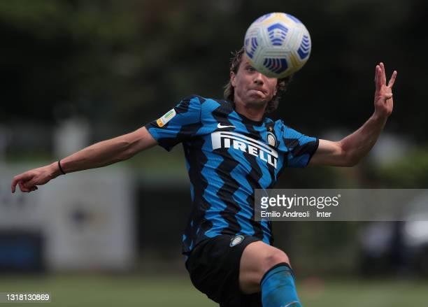 David Wieser of FC Internazionale U19 looks the ball during the Primavera 1 TIM match between FC Internazionale U19 and ACF Fiorentina U19 at Stadio...