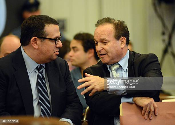 David Wildstein former director of interstate capital projects for the Port Authority confers with his attorney Alan Zegas as he waits to testify at...