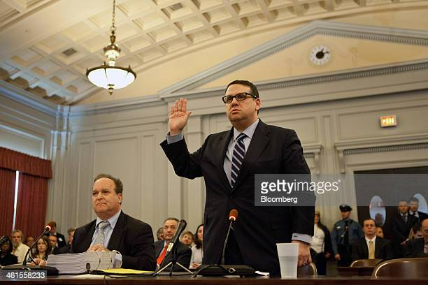 David Wildstein former director of Interstate Capital Projects for the Port Authority of New York and New Jersey takes an oath before the State...