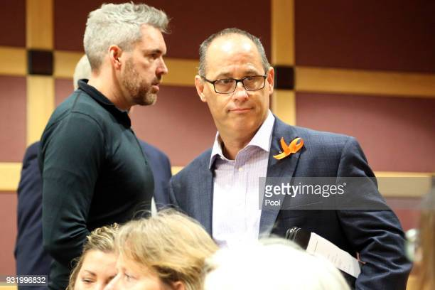 David Wilford left and Fred Guttenberg enter the courtroom for Nikolas Cruz's arraignment at the Broward County Courthouse March 14 2018 in in Fort...