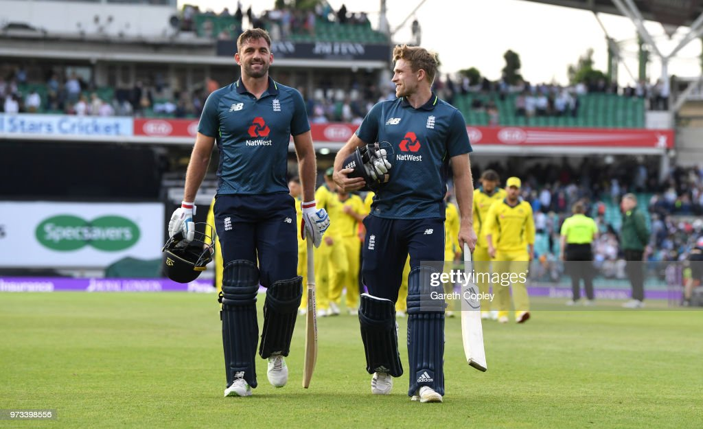 David Willey and Liam Plunkett of England celebrate winning the 1st Royal London ODI match between England and Australia at The Kia Oval on June 13, 2018 in London, England.