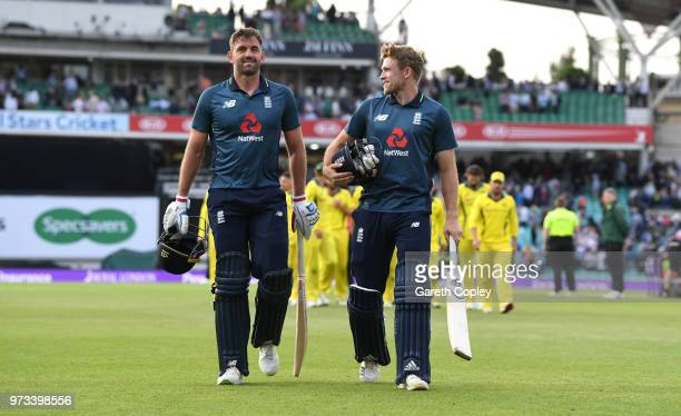 David Willey and Liam Plunkett of England celebrate winning the 1st Royal London ODI match between England and Australia at The Kia Oval on June 13...