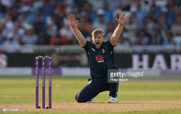 David Willey of England appeals during the 1st Royal London OneDay International between England and India on July 12 2018 in Nottingham England