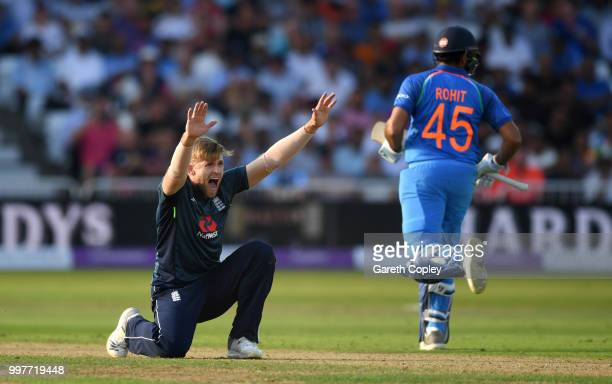 David Willey of England appeals during the Royal London OneDay match between England and India at Trent Bridge on July 12 2018 in Nottingham England