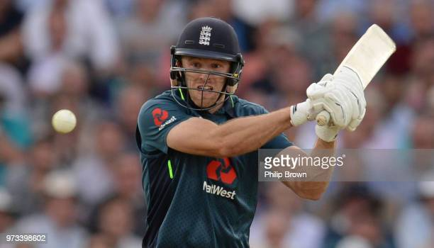 David Willey of England bats during the first Royal London OneDay International match between England and Australia at the Kia Oval on June 13 2018...