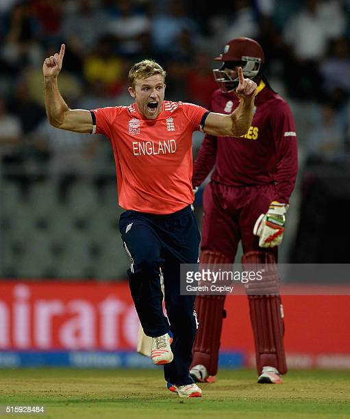 David Willey of England celebrates dismissing Johnson Charles of the West Indies during the ICC World Twenty20 India 2016 Super 10s Group 1 match...