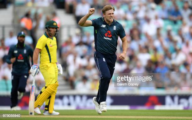 David Willey of England celebrates dismissing Travis Head of Australia during the 1st Royal London ODI match between England and Australia at The Kia...