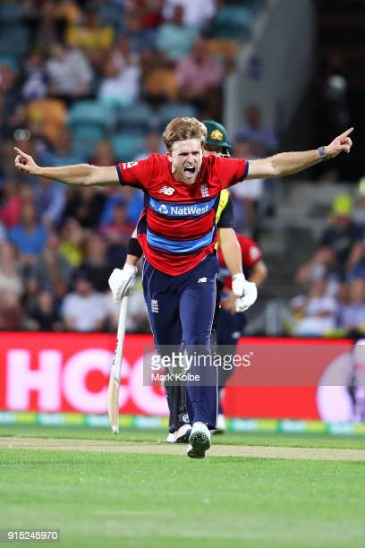 David Willey of England celebrates taking the wicket of Chris Lynn of Australia of Australia during the Twenty20 International match between...