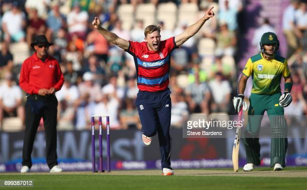 David Willey of England celebrates taking the wicket of JJ Smuts of South Africa with his first ball during the 1st NatWest T20 International match...
