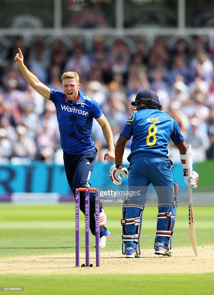 David Willey of England celebrates the wicket of Kusal Perera of Sri Lanka caught by Jaosn Roy of England during of the 1st ODI Royal London One Day match between England and Sri Lanka at Trent Bridge on June 21, 2016 in Nottingham, England.