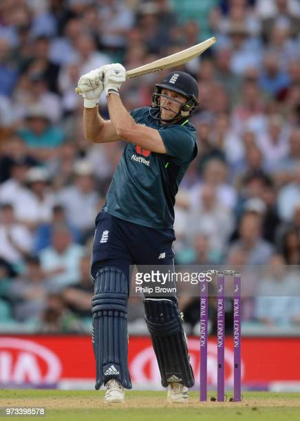 David Willey of England hits a six to win the match in the first Royal London OneDay International match between England and Australia at the Kia...