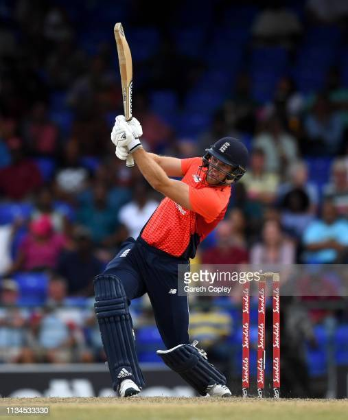 David Willey of England hits out for six runs during the 2nd Twenty20 International match between England and West Indies at on March 08 2019 in...