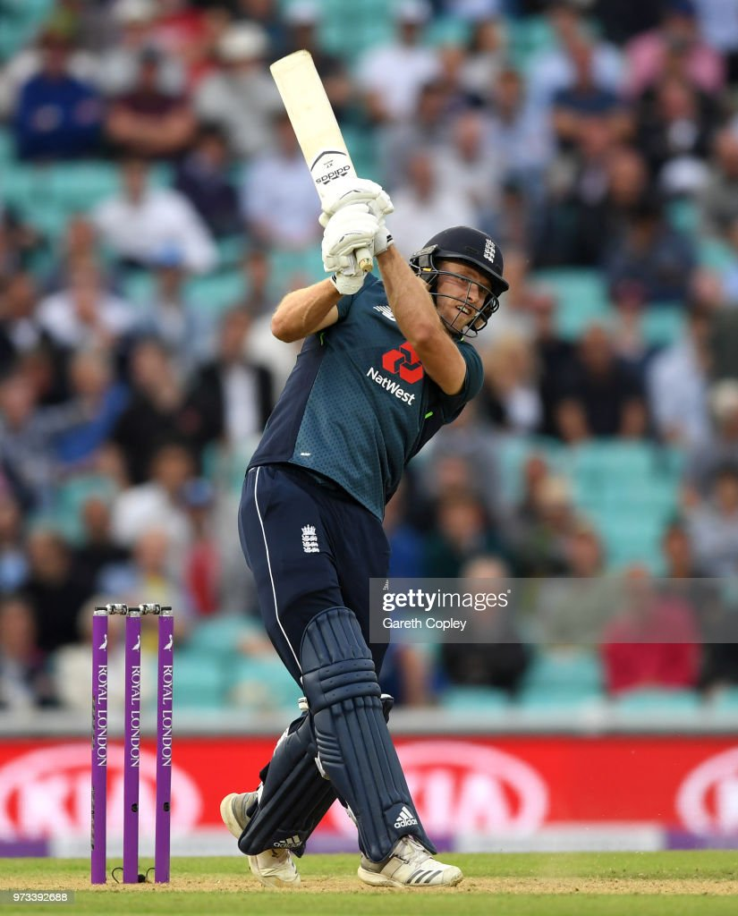 David Willey of England hits six runs to win the 1st Royal London ODI match between England and Australia at The Kia Oval on June 13, 2018 in London, England.