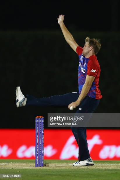 David Willey of England in bowling action during the India and England warm Up Match prior to the ICC Men's T20 World Cup at on October 18, 2021 in...