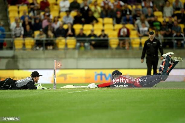 David Willey of England is run out during the International Twenty20 match between New Zealand and England at Westpac Stadium on February 13 2018 in...