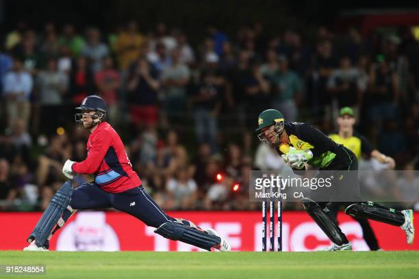 David Willey of England is stumped by Alex Carey of Australia off the bowling of Glenn Maxwell during the Twenty20 International match between...