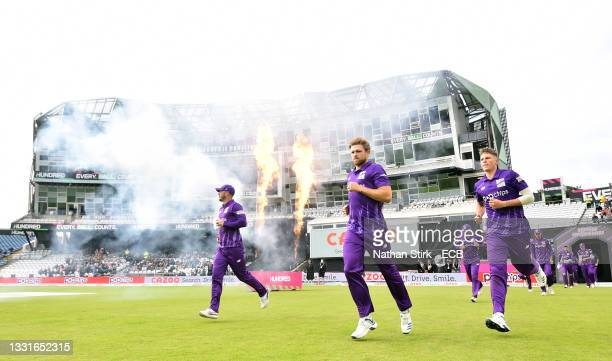 David Willey of Northern Superchargs leads his players onto the pitch during The Hundred match between Northern Superchargers Men and Oval...