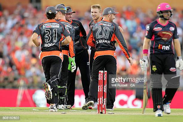 David Willey of the Scorchers celebrates after taking the wicket of Ed Cowan of the Sixers during the Big Bash League match between Perth Scorchers...
