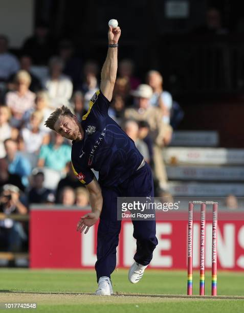 David Willey of Yorkshire hits a six during the Vitality Blast match between Northamptonshire Steelbacks and Yorkshire Vikings at The County Ground...
