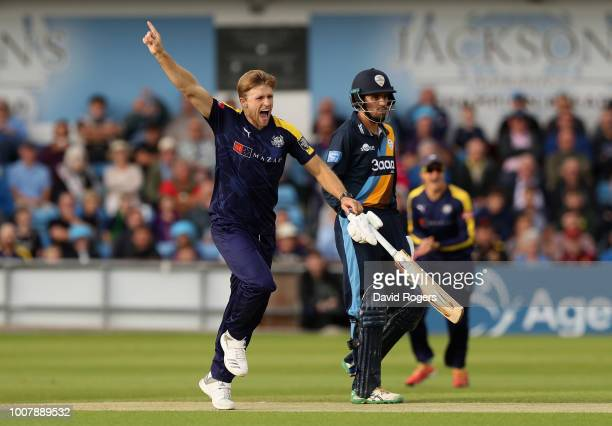 David Willey of Yorkshire celebrates after bowling out Billy Godleman first ball of the match during the Vitality Blast match between Yorkshire...