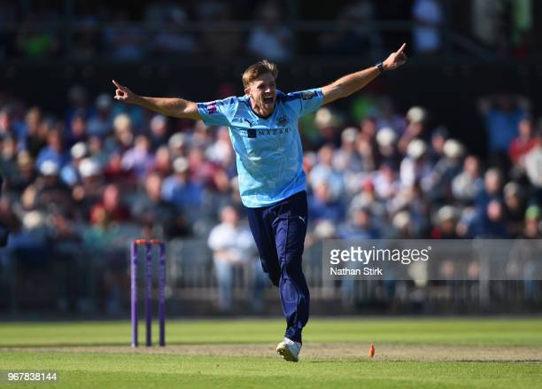 David Willey of Yorkshire celebrates getting Haseeb Hameed of Lancashire out during the Royal London One Day Cup match between Lancashire and...