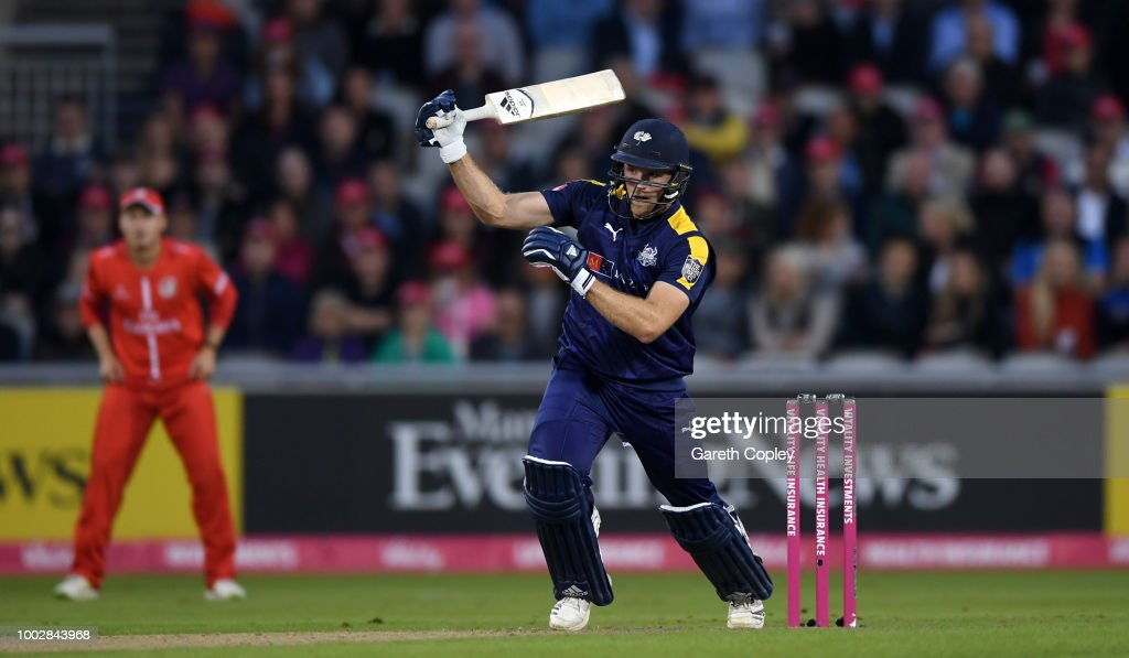 David Willey of Yorkshire hits out for six runs during the Vitality Blast match between Lancashire Lighting and Yorkshire Vikings at Old Trafford on July 20, 2018 in Manchester, England.