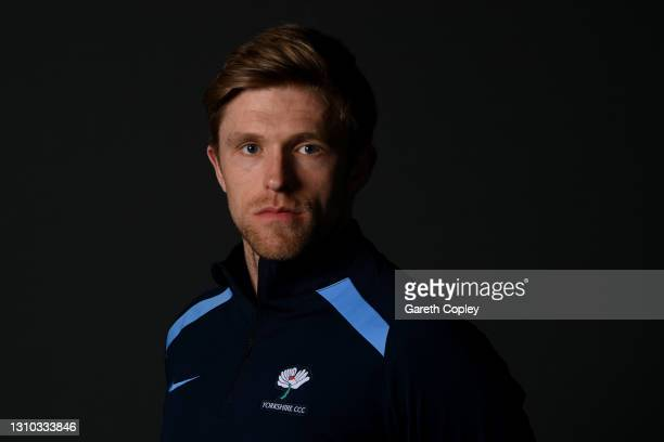 David Willey of Yorkshire poses for a portrait during the team photocall at Emerald Headingley Stadium on April 01, 2021 in Leeds, England.