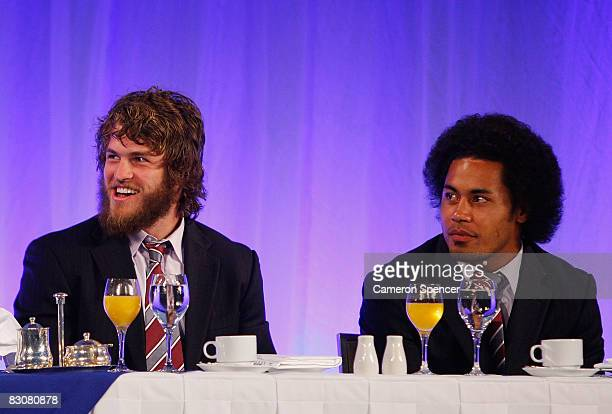 David Williams and Steve Matai of the Sea Eagles look on during the 2008 NRL Grand Final breakfast at the Westin hotel on October 2 2008 in Sydney...