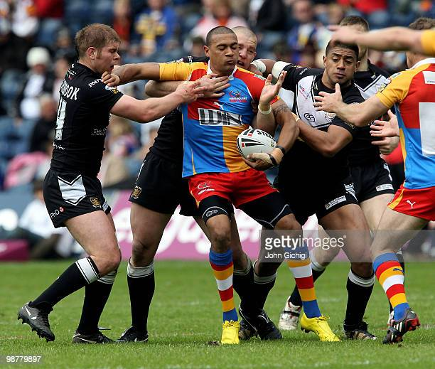 David Williams of Harlequins is tackled during the Engage Super League Magic Weekend game between Hull FC and Harlequins at Murrayfield on May 1 2010...