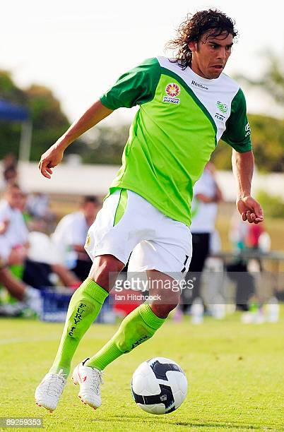 David Williams of the Fury controls the ball during the ALeague preseason match between the North Queensland Fury and the Brisbane Roar at Tony...