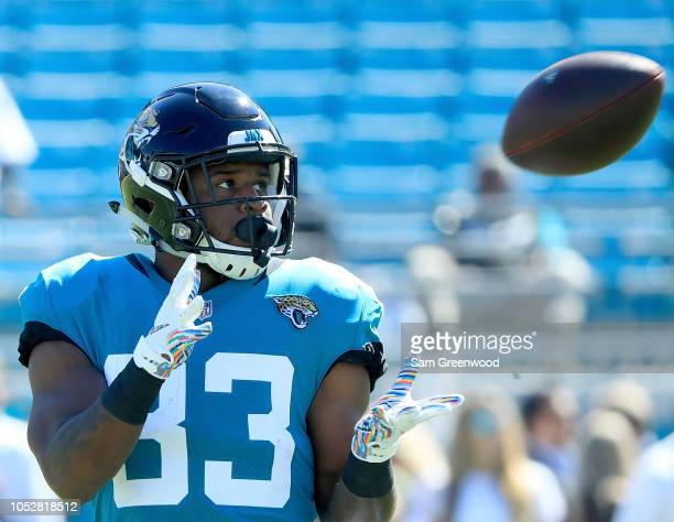 David Williams of the Jacksonville Jaguars warms up prior to the game against the Houston Texans at TIAA Bank Field on October 21 2018 in...
