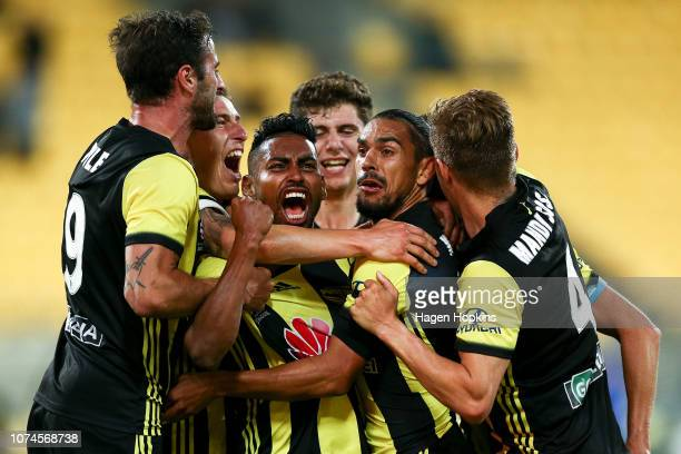 David Williams of the Phoenix celebrates with Roy Krishna after scoring a goal during the round nine A-League match between the Wellington Phoenix...