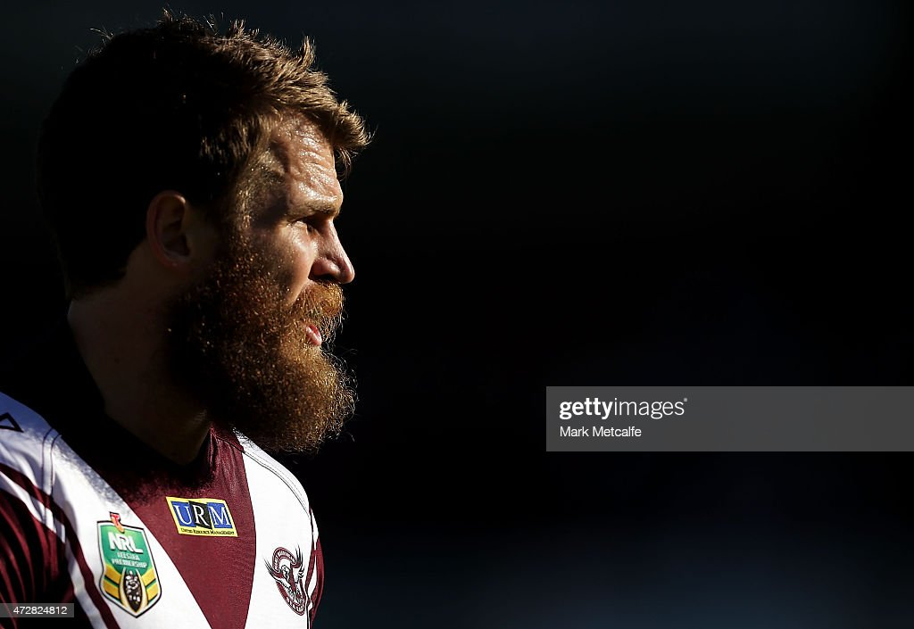 David Williams of the Sea Eagles looks on during the round nine NRL match between the Manly Sea Eagles and the Newcastle Knights at Brookvale Oval on May 10, 2015 in Sydney, Australia.
