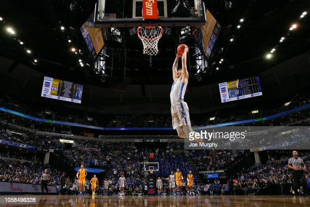 David Wingett of the Memphis Tigers dunks the ball against the Tennessee Tech Golden Eagles on November 6, 2018 at FedExForum in Memphis, Tennessee....