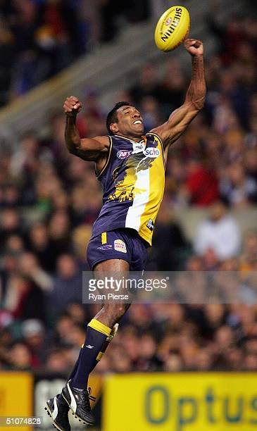 David Wirrpunda for the Eagles in action during the round sixteen AFL match between The West Coast Eagles and The Essendon Bombers at Subiaco Oval on...