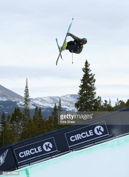 David Wise competes in the Superpipe qualification during Day 1 of the Dew Tour on December 13 2017 in Breckenridge Colorado