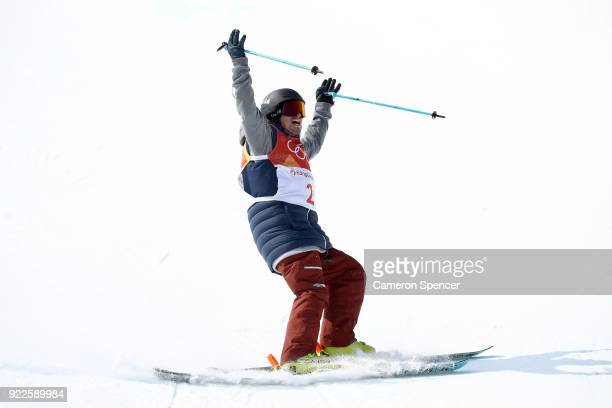 David Wise of the United States celebrates after his final run during the Freestyle Skiing Men's Ski Halfpipe Final on day thirteen of the...